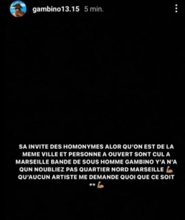 gambino colère sur story instagram